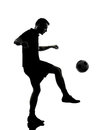 Man soccer player silhouette one in studio isolated on white background Royalty Free Stock Photo