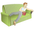 A man and a sofa the on the couch viewer on the vector illustration Royalty Free Stock Image