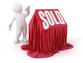 Man and sold house image with clipping path Royalty Free Stock Photos