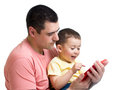 Man and son kid play with tablet computer Royalty Free Stock Photo