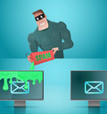 Man spamming emails. Royalty Free Stock Photo