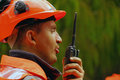 Man speaking on a shortwave radio Stock Photos