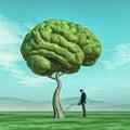 Man squirting a big tree shaped human brain