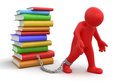 Man and Stack of Books (clipping path included) Royalty Free Stock Photo