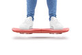 Man stand red hover board scooter isolated. Royalty Free Stock Photo