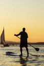 Man on Stand Up Paddle Board Royalty Free Stock Images