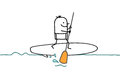 Man stand up paddle hand drawn cartoon characters Royalty Free Stock Photography