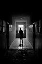 Man standing in dark corridor auschwitz birkenau german concentration camp Stock Photos
