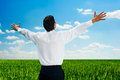Man standing at the field at sunny day Royalty Free Stock Images