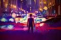 Man standing on illuminated street at night Royalty Free Stock Photo