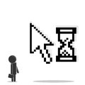 Man is standing near the cursor with hourglass Royalty Free Stock Image
