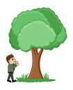Man standing near tree conceptual drawing art of young cartoon in garden vector illustration Stock Photography