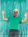 Man is in a state of euphoria, screaming and celebrating. Carniv Royalty Free Stock Photo