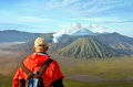 Man stay on the top near volcano Bromo in Indonesia Royalty Free Stock Photo