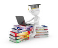 Man studying languages with laptop sitting on a pile of books on learning of Royalty Free Stock Photo
