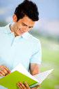 Man studying outdoors Royalty Free Stock Images