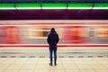 Man At Subway Station And Movi...