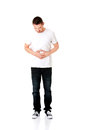 Man suffer from belly ache severe stomachache Royalty Free Stock Photography