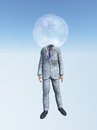 Man in suit with bubble head for Royalty Free Stock Photo