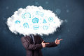 Man in suit with cloud head and blue icons Stock Image