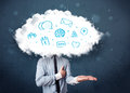 Man in suit with cloud head and blue icons Royalty Free Stock Image