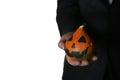 Man In Suit With Pumpkin