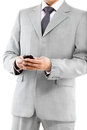Man in suit texting closeup cropped portrait of handsome isolated on white background Stock Photos