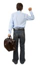 Man with a suitcase knocking on imaginary door isolated white Royalty Free Stock Images