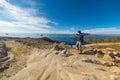 Man sull isola del sun lago titicaca bolivia Fotografia Stock Libera da Diritti