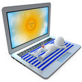 Man sunbathing on top of a huge laptop Royalty Free Stock Photo