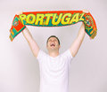 Man supports portugal team with portuguese scarf Royalty Free Stock Images