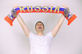 Man supports russian team with scarf Stock Photos