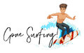 Man on surfboard with phrase gone surfing Royalty Free Stock Photo
