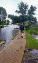 Man Surveying Hurricane Flood Waters Manteo North Carolina Royalty Free Stock Photo