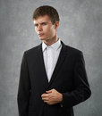 Man is suspect and distrust look closely at someone Stock Photography