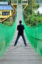 Man on the suspension bridge Royalty Free Stock Photo