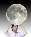 Man sustaining the moon image of the moon is from nasa Lizenzfreies Stockfoto