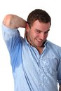 Man sweating very badly under armpit Royalty Free Stock Images