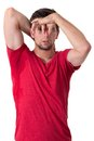Man sweating very badly under armpit Stock Photography