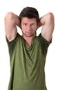 Man sweating very badly under armpit Royalty Free Stock Photo