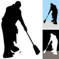 Man Sweeping Floors Stock Photo