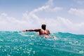 Man swim on surf Royalty Free Stock Photo