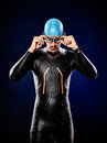 Man swimmer swimming triathlon ironman isolated Royalty Free Stock Photo