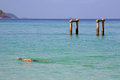 Man swimming on crystal andaman sea at koh lipe in satun thailand Stock Photography