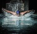 Man in swimming pool Royalty Free Stock Photo