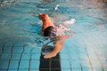 Man swims front crawl style in swimming pool forward public Stock Photography
