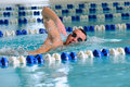 Man swims using the crawl stroke Royalty Free Stock Photography