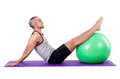 Man swiss ball doing exercises white Royalty Free Stock Images