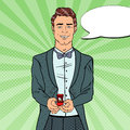 Man in Tail-Coat with Wedding Ring. Marriage Proposal. Pop Art retro illustration