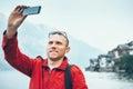 Man take a vacation selfie photo Royalty Free Stock Photo